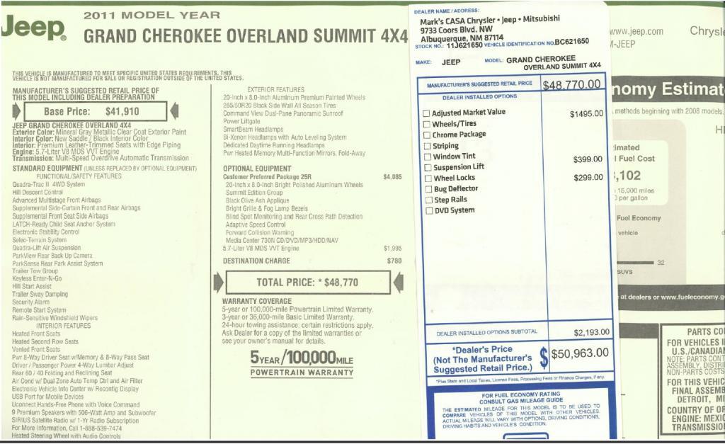 2011 Jeep Grand Cherokee Overland Summit Hemi V8 4x4 18 Fuel